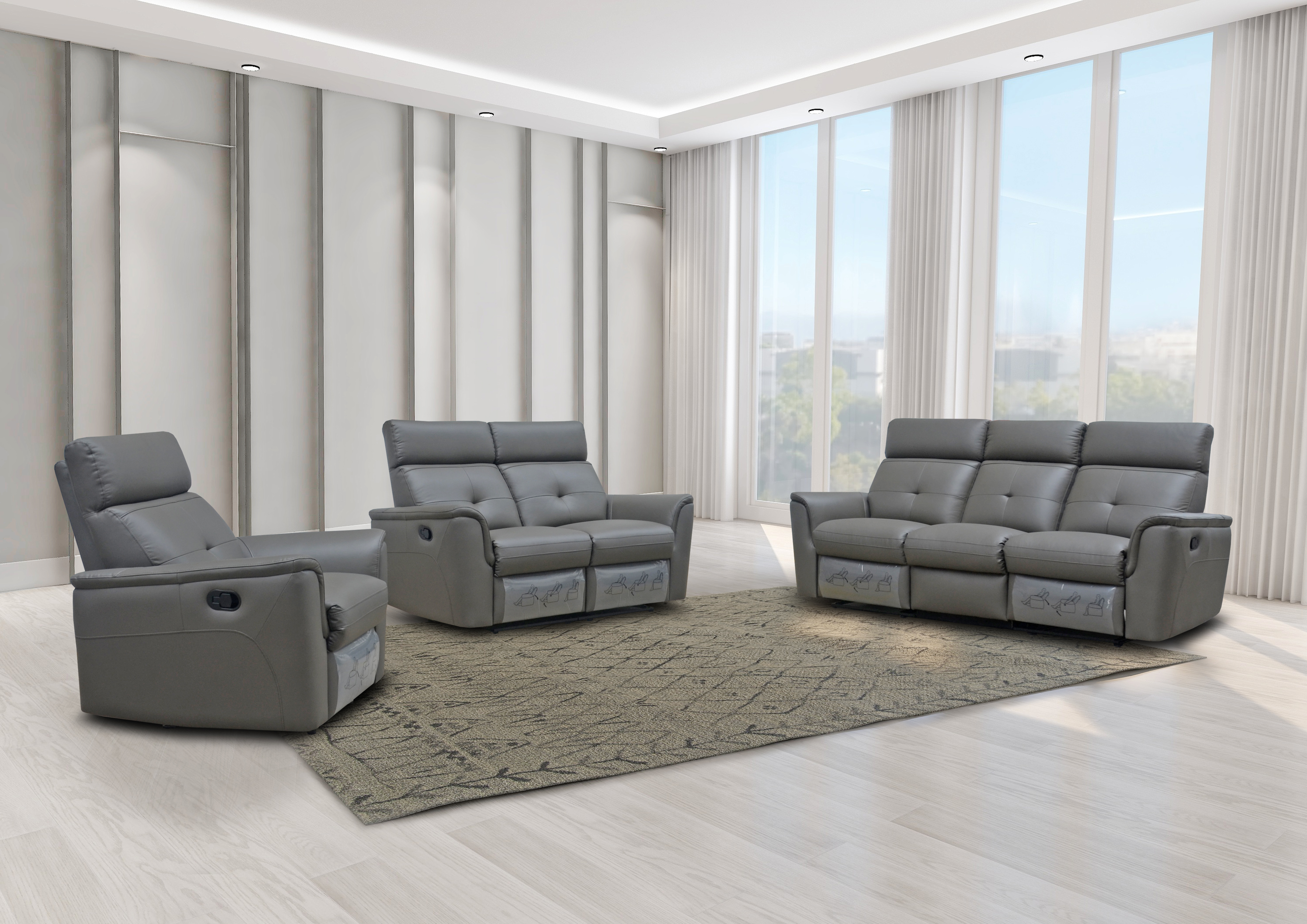 Living Room Furniture Sofas Loveseats and Chairs 8501 Dark Grey w/Manual Recliner