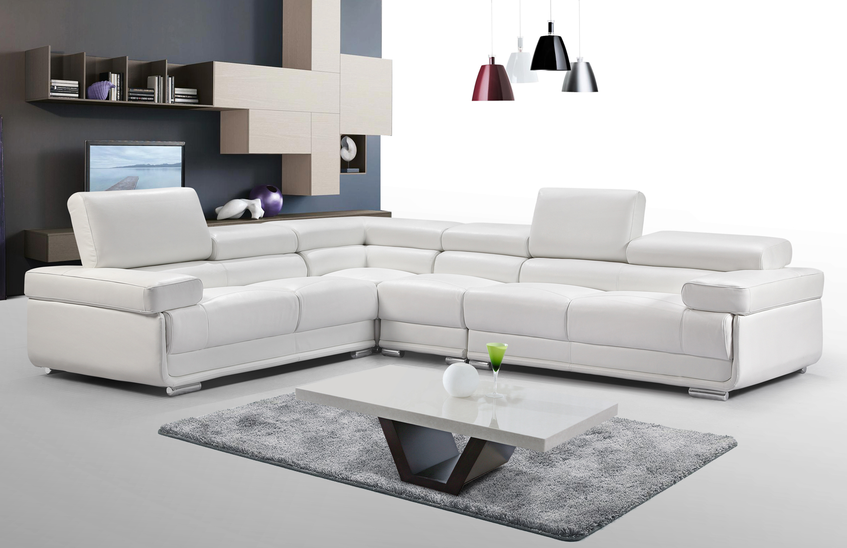 Living Room Furniture Sectionals 2119 Sectional White